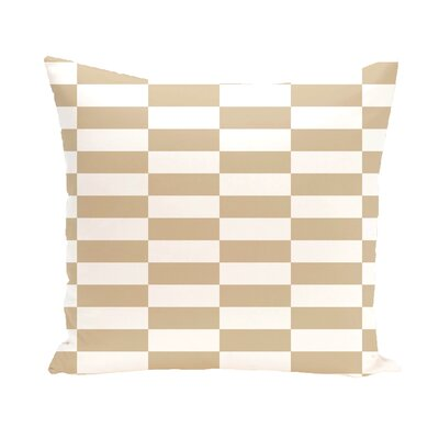 Bo�tes Stair Stepping Stripes Print Outdoor Pillow Color: Khaki, Size: 16 H x 16 W x 1 D