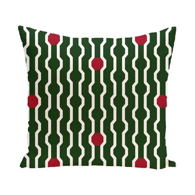 Uresti Decorative Holiday Geometric Print Square Throw Pillow Size: 16 H x 16 W, Color: Green/Red
