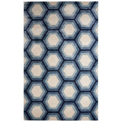 Vanbrunt Hand-Tufted Ivory/Blue Area Rug Rug Size: Rectangle 5 x 8