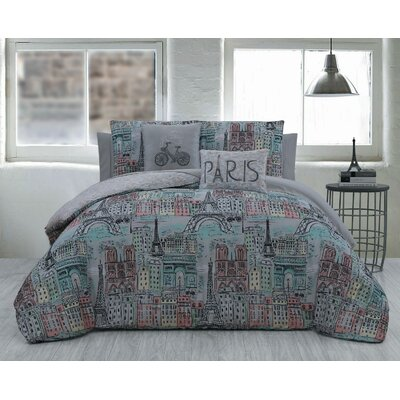 Mae 5 Piece Reversible Comforter Set Size: King