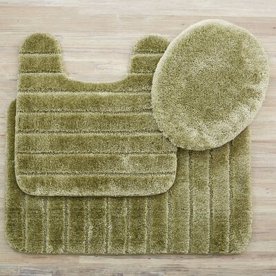 Brockley 3 Piece Bath Rug Set Color: Olive