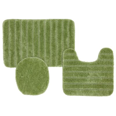 Brockley 3 Piece Bath Rug Set Color: Sage