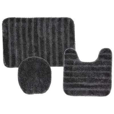 Brockley 3 Piece Bath Rug Set Color: Grey