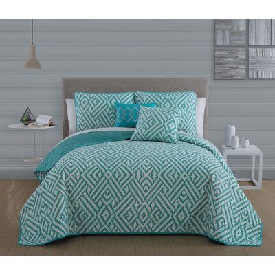 Aquilae 5-piece Reversible Quilt Set Size: King, Color: Teal