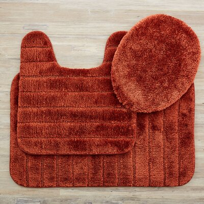 Brockley 3 Piece Bath Rug Set Color: Rust
