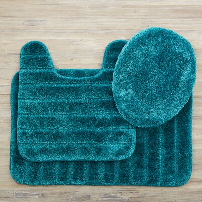 Brockley 3 Piece Bath Rug Set Color: Teal