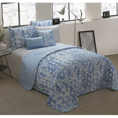 Apus 5 Piece Reversible Quilt Set Size: King, Color: Blue
