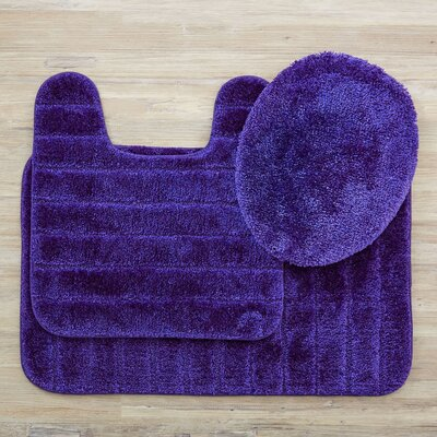 Brockley 3 Piece Bath Rug Set Color: Midnight