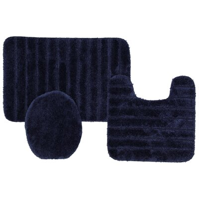 Brockley 3 Piece Bath Rug Set Color: Navy
