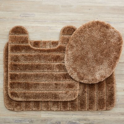 Brockley 3 Piece Bath Rug Set Color: Bark