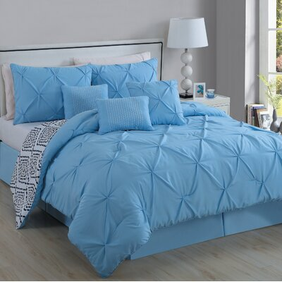 Slusher 6 Piece Comforter Set Size: King, Color: Light Blue