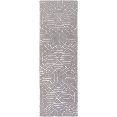 Brey Hand-Tufted Gray Area Rug Rug size: Runner 26 x 8