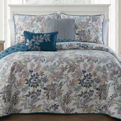 Dickenson 5-piece Quilt Set Color: Blue, Size: Queen