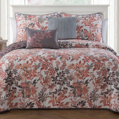 Dickenson 5-piece Quilt Set Color: Coral, Size: Queen