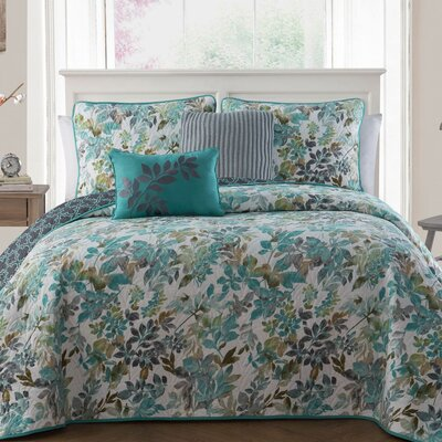 Dickenson 5-piece Quilt Set Color: Teal, Size: Queen