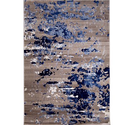 Daly Beige/Blue Area Rug Rug Size: 52 x 72