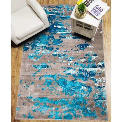 Daly Beige/Turquoise Area Rug Rug Size: 52 x 72