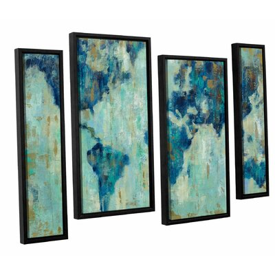 Map of the World' 4 Piece Framed Painting Print Set Size: 24
