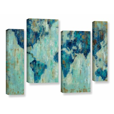 Map of the World' 4 Piece Painting Print on Canvas Set Size: 24