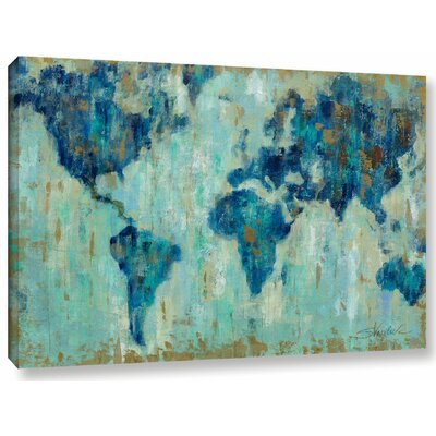 'Map of the World' Painting Print on Wrapped Canvas Size: 32