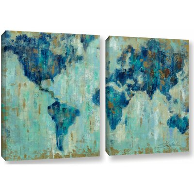 Map of the World' 2 Piece Painting Print on Canvas Set Size: 18