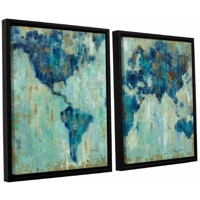Map of the World' 2 Piece Framed Painting Print Set Size: 24