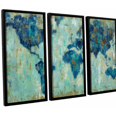 Map of the World' 3 Piece Framed Painting Print Set Size: 24