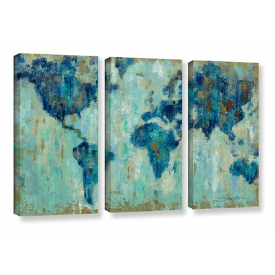 'Map of the World' 3 Piece Painting Print on Canvas Set Size: 24