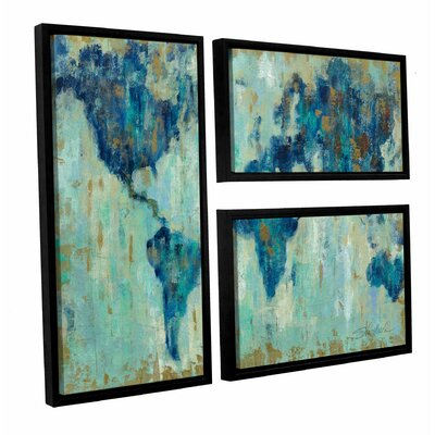 Map of the World' 3 Piece Set Framed Painting Print