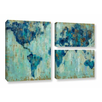 Map of the World' 3 Piece Painting Print on Canvas Set
