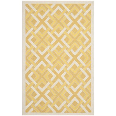 Lattice Hand-Tufted Gold/Ivory Area Rug Rug Size: 5 x 8