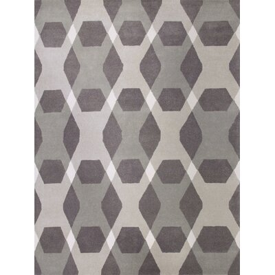 Diamond Hand-Loomed Gray Area Rug Rug Size: 9 x 12