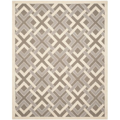 Lattice Hand-Tufted Taupe/Ivory Area Rug Rug Size: 4 x 6