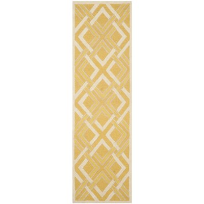 Lattice Hand-Tufted Gold/Ivory Area Rug Rug Size: Runner 23 x 8