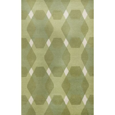 Diamond Hand-Loomed Green/White Area Rug Rug Size: Round 8