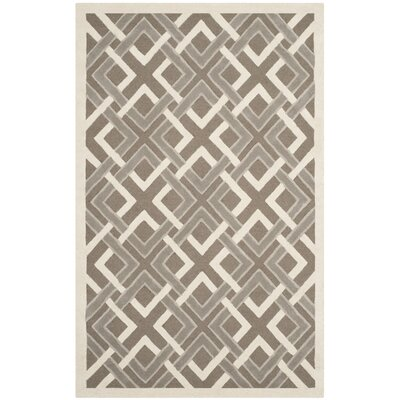 Lattice Hand-Tufted Taupe/Ivory Area Rug Rug Size: 5 x 8