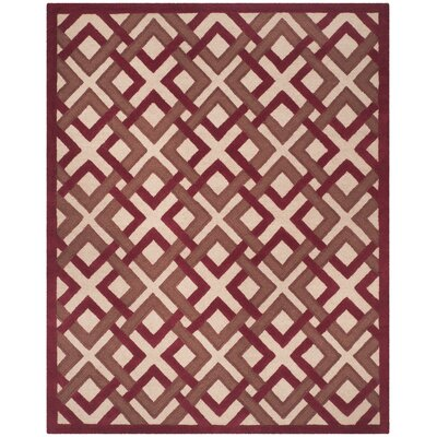 Lattice Hand-Tufted Ivory/Red Area Rug Rug Size: Rectangle 8 x 10