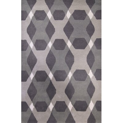Diamond Hand-Loomed Gray Area Rug Rug Size: 4 x 6