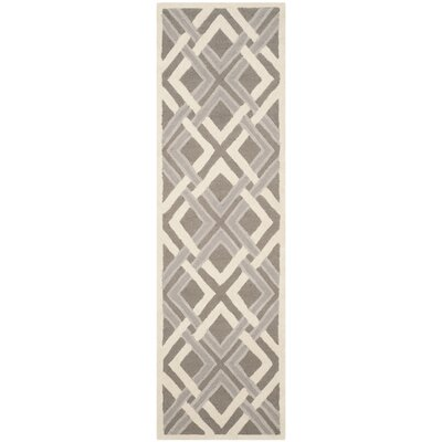 Lattice Hand-Tufted Taupe/Ivory Area Rug Rug Size: Runner 23 x 8