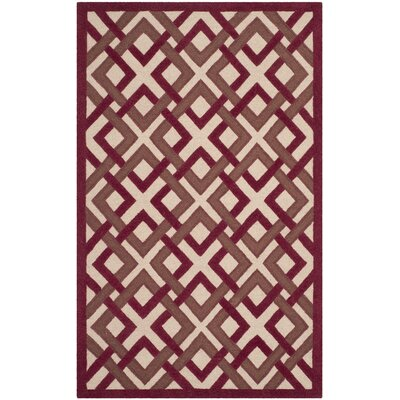 Lattice Hand-Tufted Ivory/Red Area Rug Rug Size: 5 x 8
