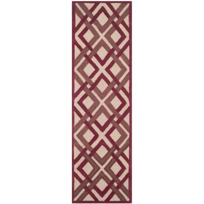 Lattice Hand-Tufted Ivory/Red Area Rug Rug Size: Runner 23 x 8