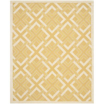 Lattice Hand-Tufted Gold/Ivory Area Rug Rug Size: 8 x 10