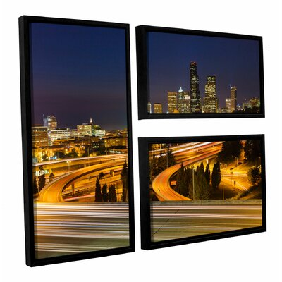 Highway to Seattle 2' 3 Piece Framed Photographic Print on Wrapped Canvas Set