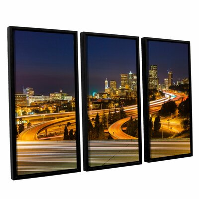Highway to Seattle 2' 3 Piece Set Framed Photographic Print on Wrapped Canvas Size: 24