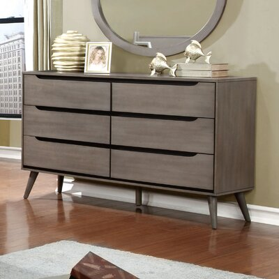 Mason 6 Drawer Double Dresser Color: Gray