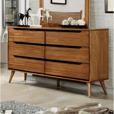 Mason 6 Drawer Double Dresser Color: Oak