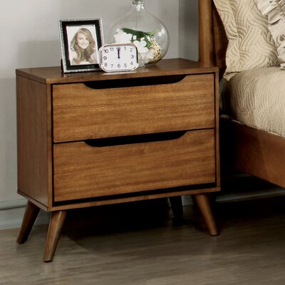 Mason Mid-Century Modern 2 Drawer Nightstand Finish: Oak