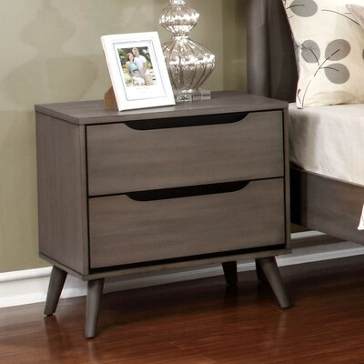 Mason Mid-Century Modern 2 Drawer Nightstand Finish: Gray