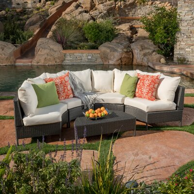 Dowd Low Profile 5 Piece Rattan Sectional Set with Cushions