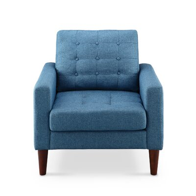 Amore Tufted Buttons Arm Chair Upholstery: Royal Blue